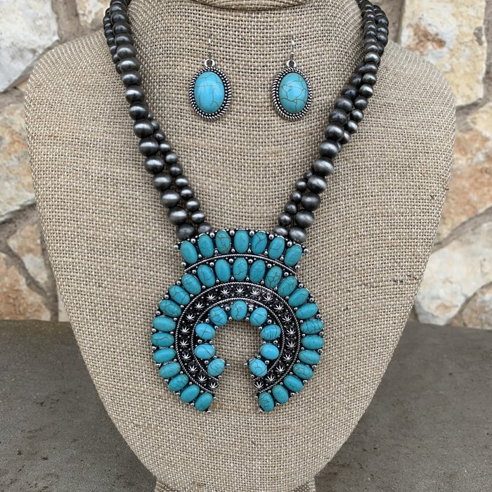 Long Navajo Pearl Turquoise Squash Necklace Set
