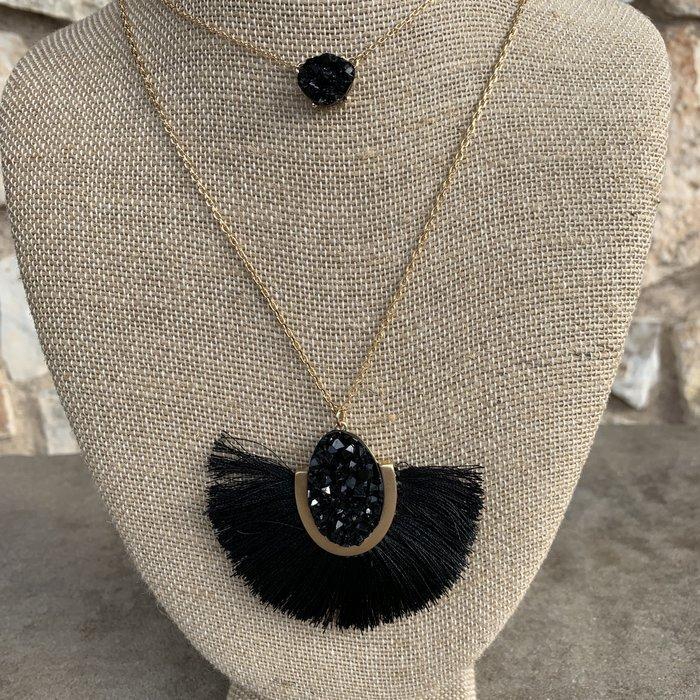"18"" Double Layer Black Druzy Fan Necklace"