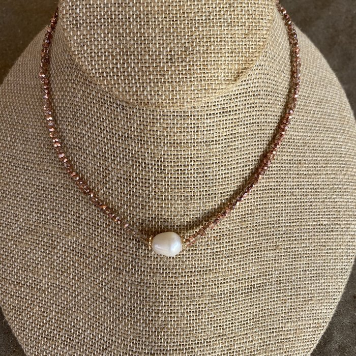Rose Gold Pearl Crystal Choker