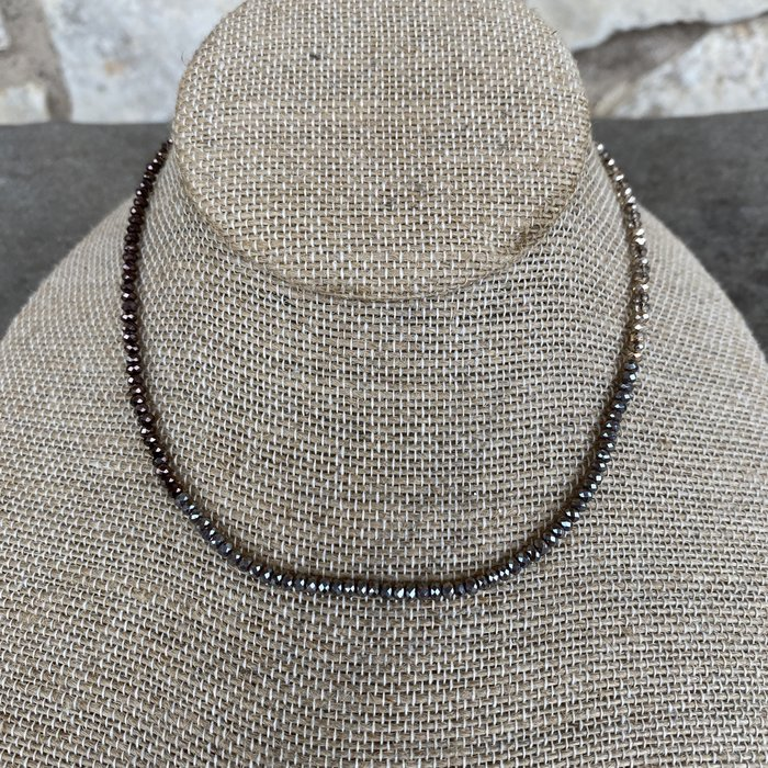 Champagne Taupe Bronze Mix Crystal Choker Necklace