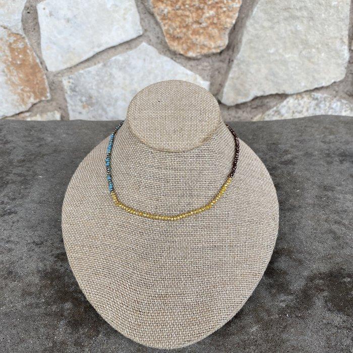 Mustard Blue Bronze Mix Crystal Choker Necklace