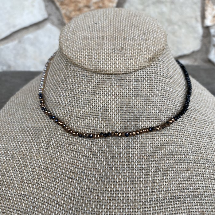 Champagne Black Bronze Mix Crystal Choker Necklace
