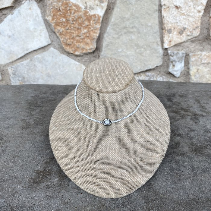 White Pave Pearl Crystal Choker