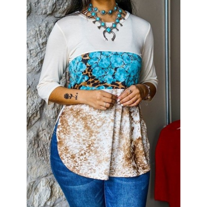 Turquoise Leopard Print Cowhide Color Block Tunic