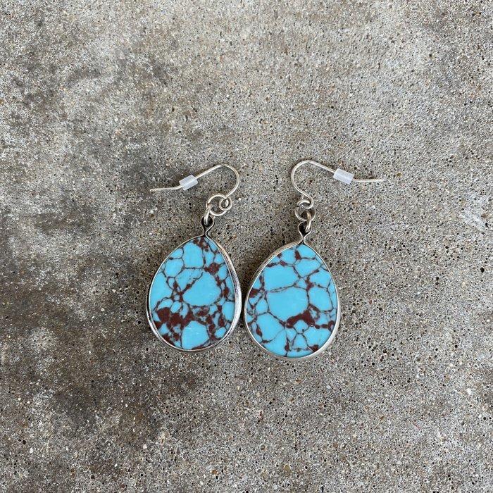Turquoise Teardrop Stone on Silver Rim Earrings