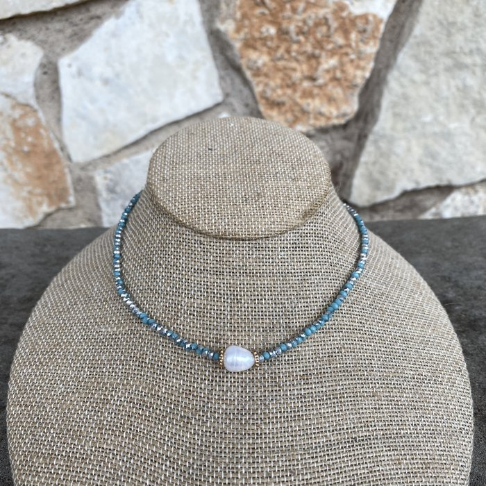 Turquoise Silver Pearl Crystal Choker