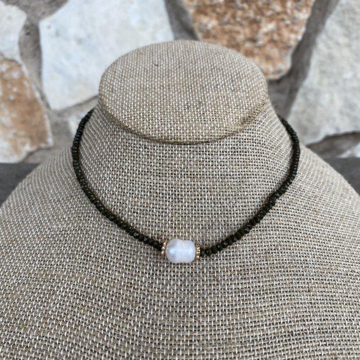 Olive Pearl Crystal Choker