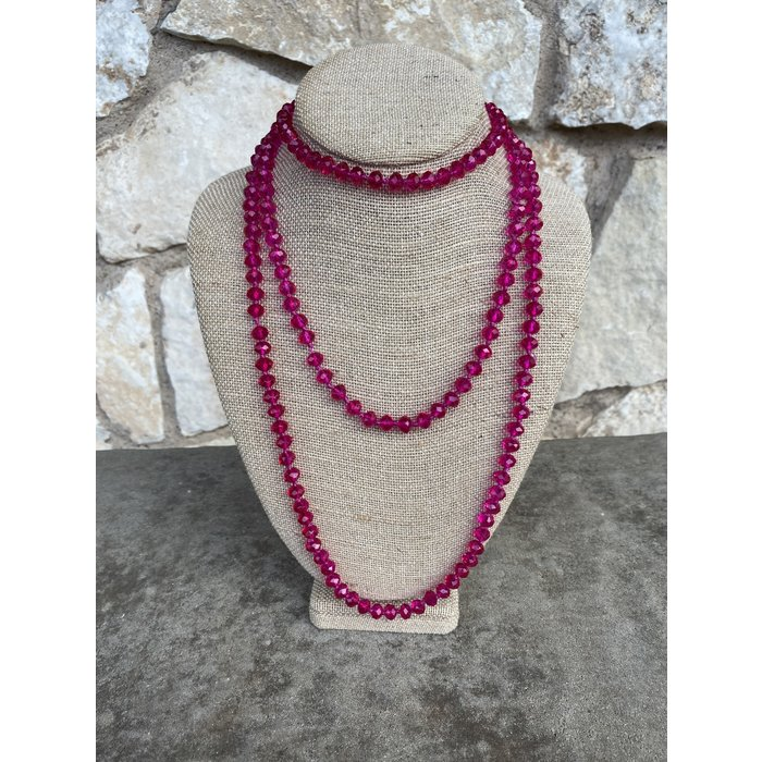 "Dark Pink 60"" Crystal Beaded Necklace"