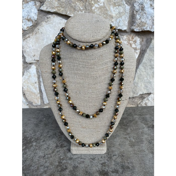 """Olive & Mustard Mix 60"""" Crystal Beaded Necklace"""