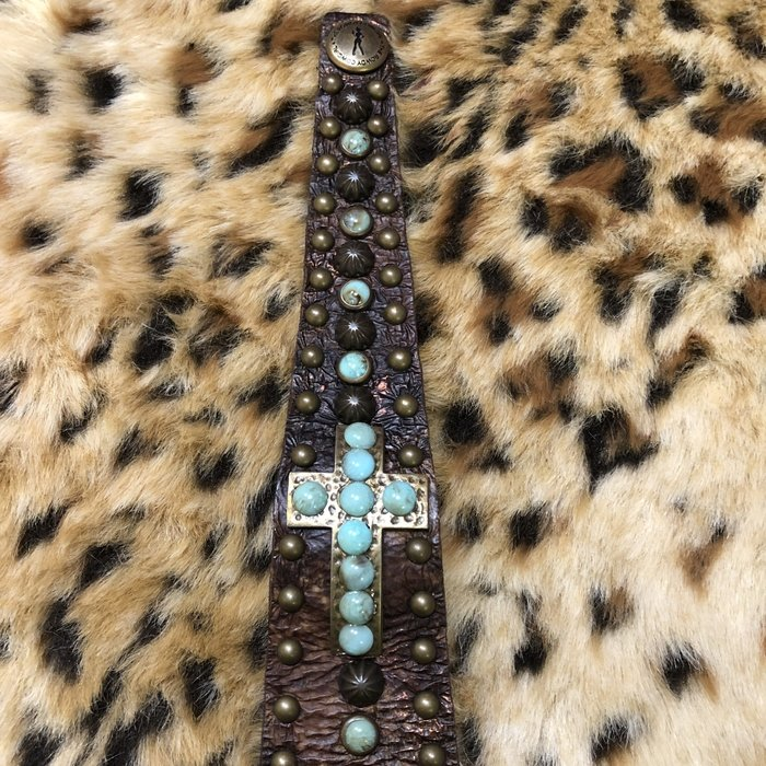 Handmade Swarovski Cross Snap Leather Bracelet - Turquoise Stone Brown