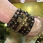 Handmade Swarovski Cross Snap Leather Bracelet - Bronze Snake Skin