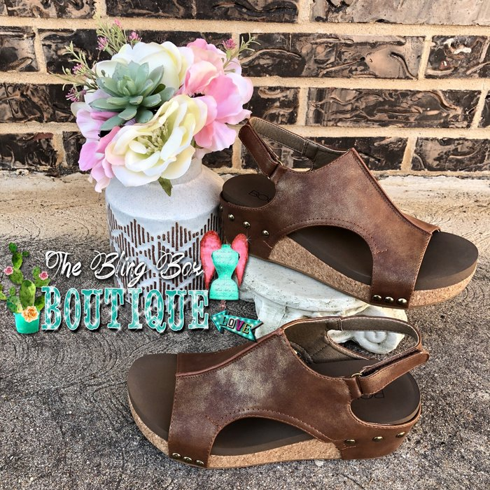 Brown Volta Wedge Sandal