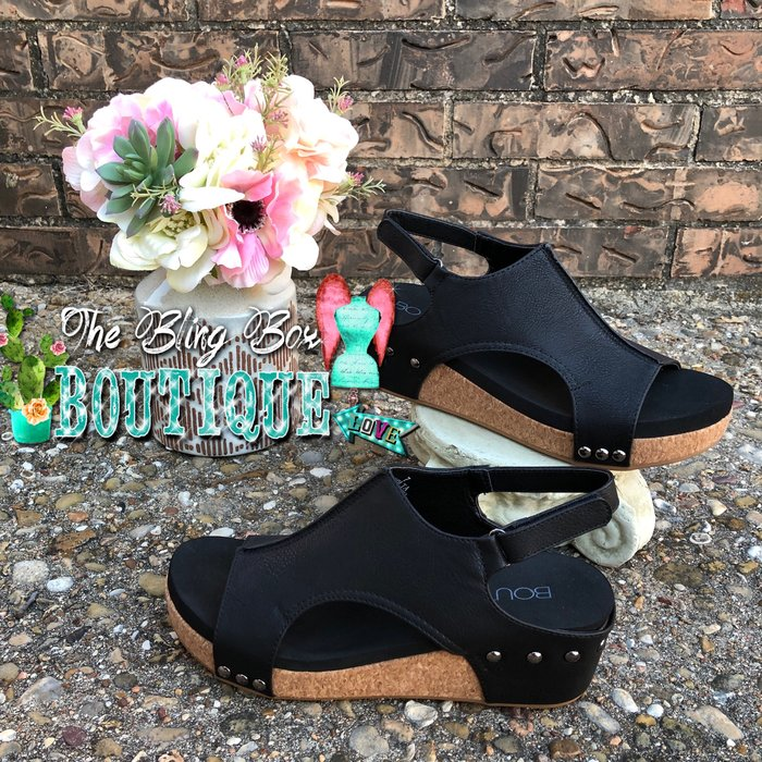 Black Smooth Volta Wedge Sandal