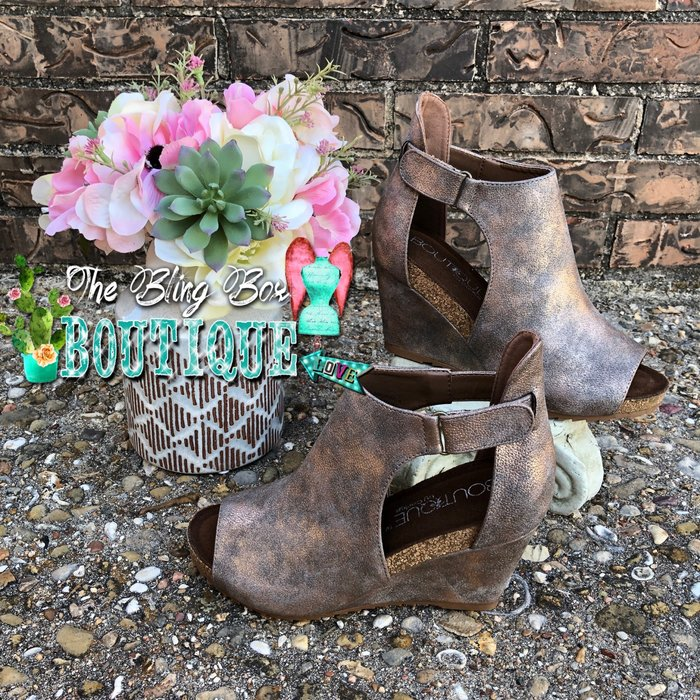 Bronze Sunburst Open Toe Wedge Shoe