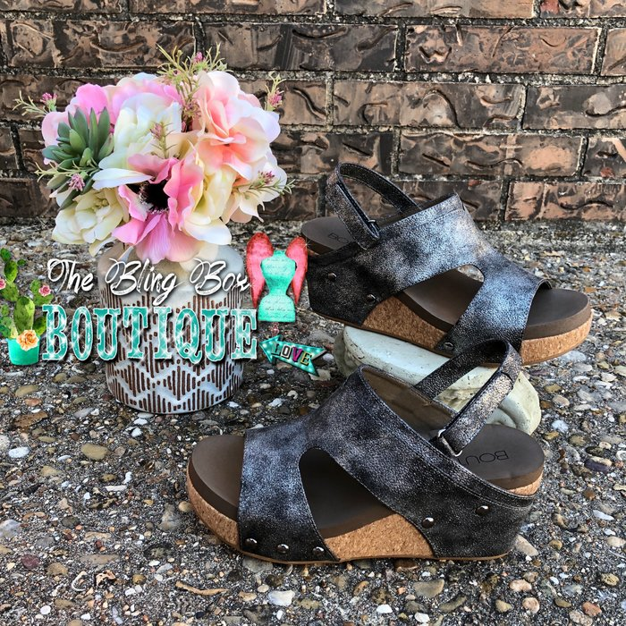 Mario Black Wedge Sandal