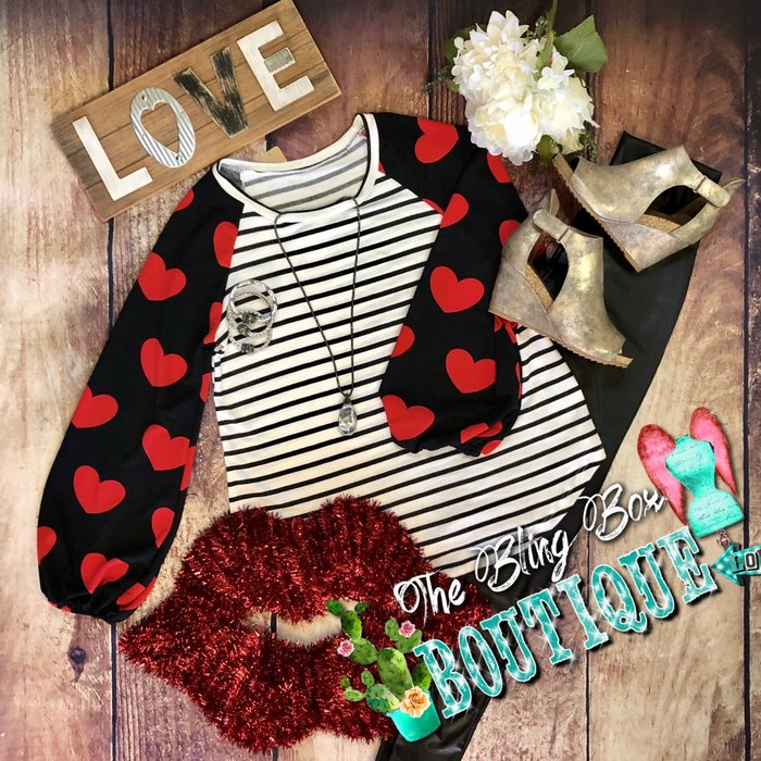 Heart Sleeve Striped Black Long Sleeve Top