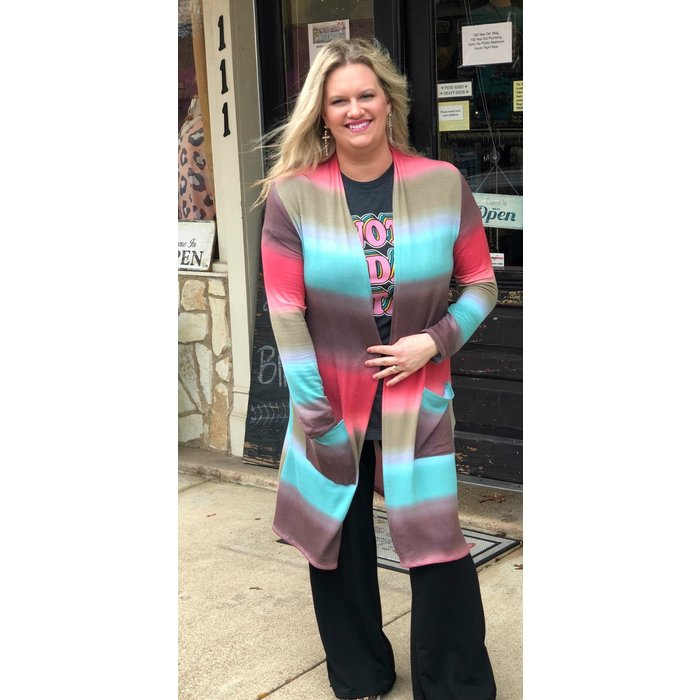 Watercolor Ombre Striped Open Cardigan w/Pockets