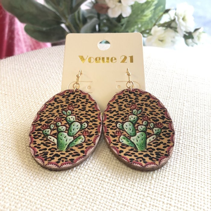 Leopard Cactus Print Oval Leather Earrings