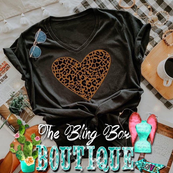 Leopard Print Heart on V-Neck Black T-Shirt