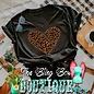 Leopard Print Heart on V-Neck Black T-Shirt