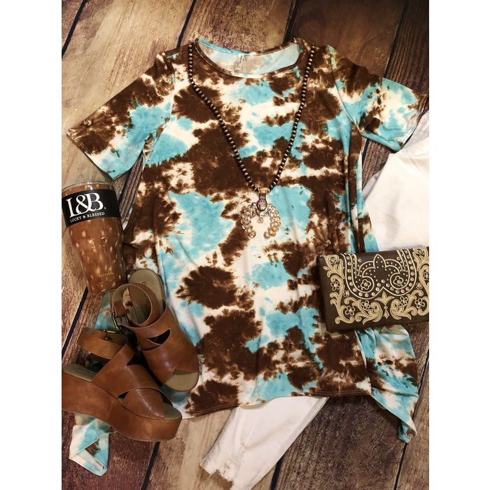PLUS - Brown & Turquoise Tie Dye Top