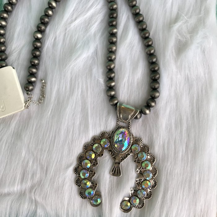 Silver Navajo AB Squash Long Necklace