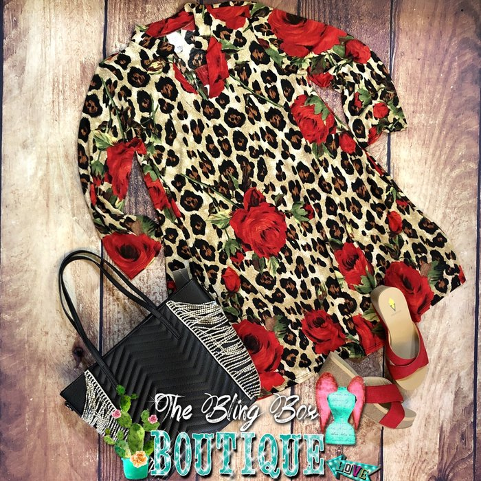 PLUS - Leopard Red Floral Print Dress w/ Pockets