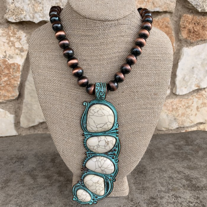 Patina Navajo Pearl White Stone Long Statement Necklace Set