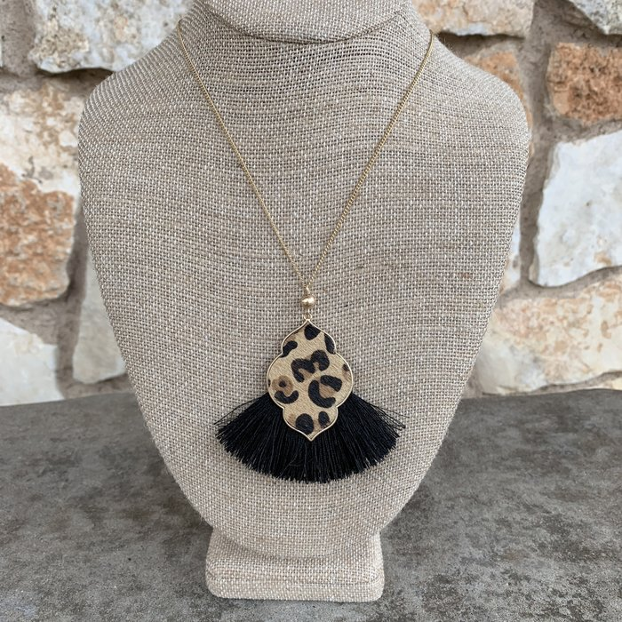 Leopard Cowhide Damask Necklace on Gold Chain