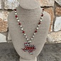 Red & Turquoise Aztec Texas Necklace on Pearl Chain