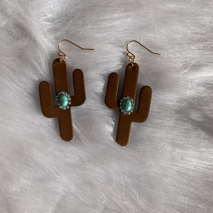 Brown Leather Cactus Turquoise Stone Earrings