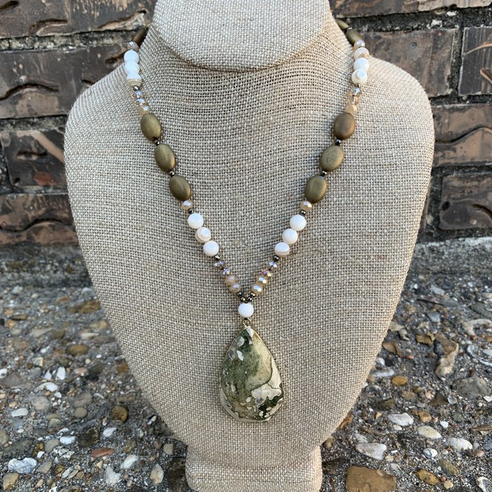 Tan Marble Stone Teardrop Leather Strap Necklace
