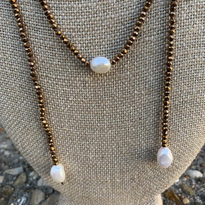 Bronze Crystal Lariat Freshwater Pearl Necklace