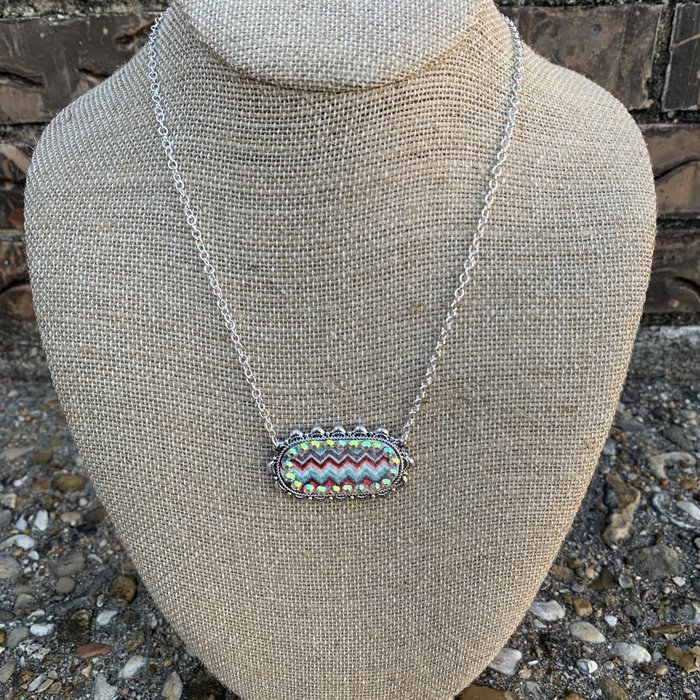 Chevron AB Silver Oval Choker Necklace