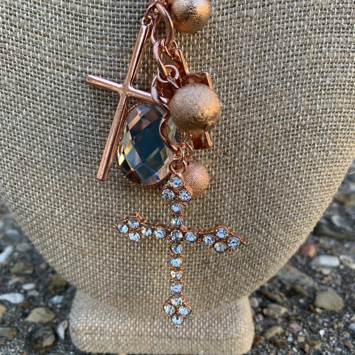 Multi Copper Rhinestone Cross Charm Necklace