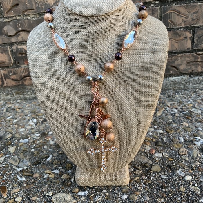 Multi Copper Rhinestone Cross Charm Necklace