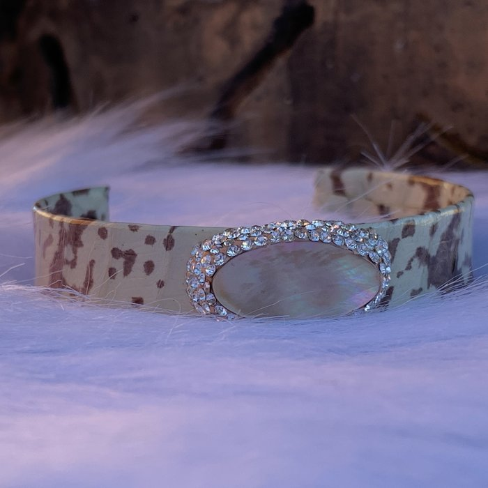 Brown & White Cow Print Abalone Pave Stone Cuff Bracelet