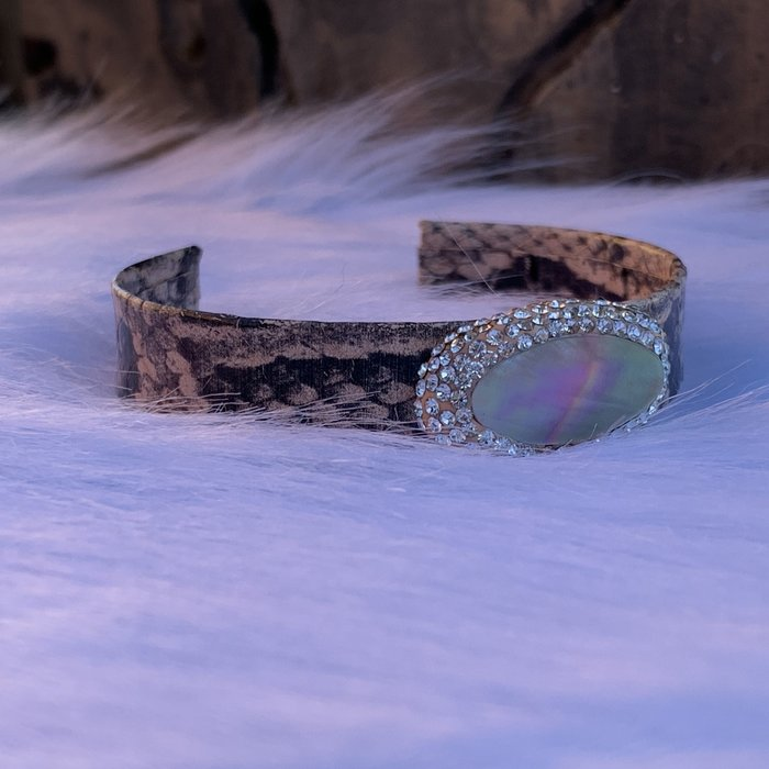 Mauve Snakeskin Print Abalone Pave Stone Cuff Bracelet
