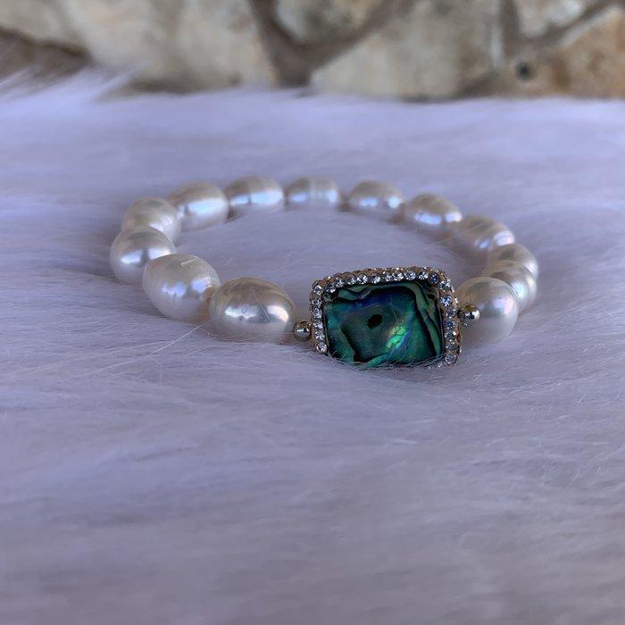Freshwater Pearl Abalone Stretch Bracelet