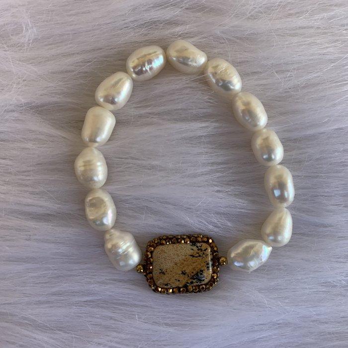 Freshwater Pearl Jasper Pave Stretch Bracelet