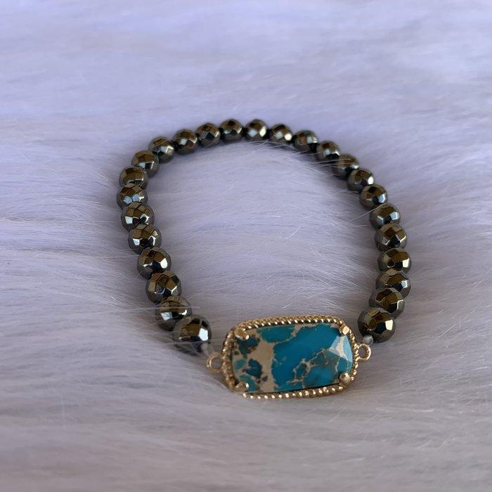 Hematite Turquoise Stone Stretch Bracelet