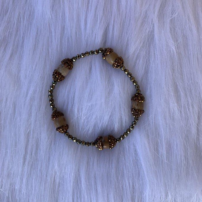 Jasper Pave Bronze Stretch Bracelet
