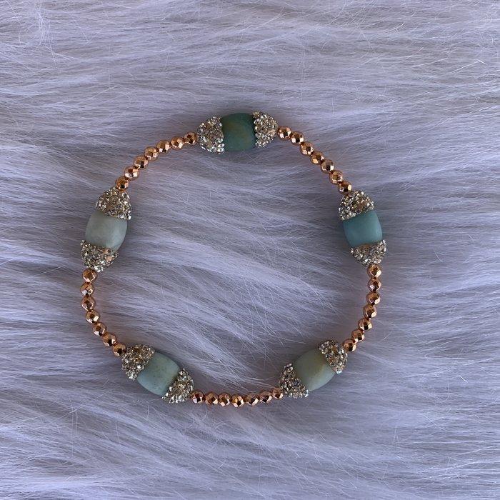 Jade Pave Crystal Copper Stretch Bracelet