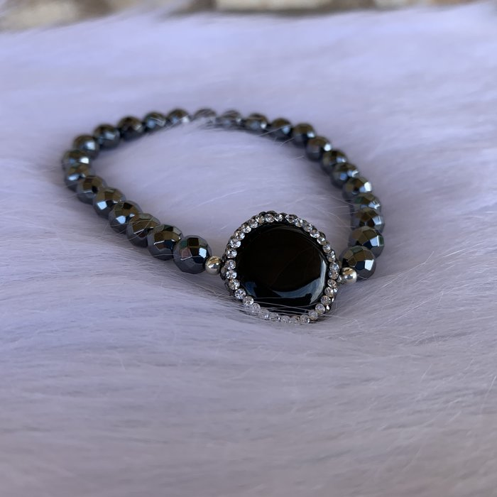 Hematite Black Onyx Pave Stretch Bracelet