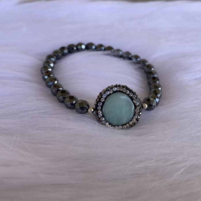 Hematite Jade Pave Stretch Bracelet