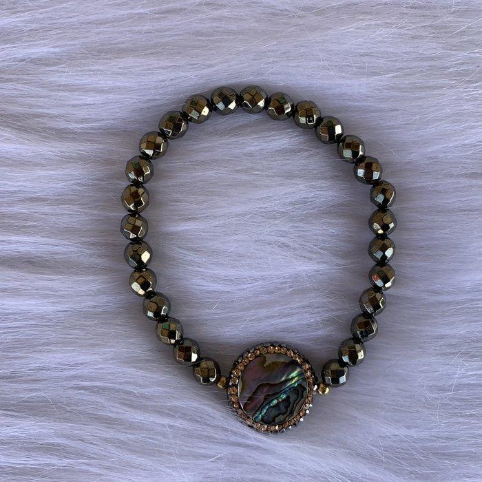 Hematite Abalone Pave Stretch Bracelet