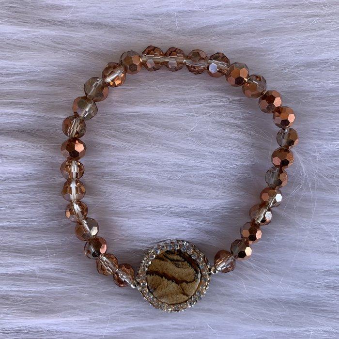 Rose Gold Crystal Stone Stretch Bracelet