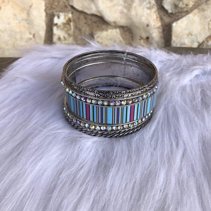 Turquoise Serape AB Crystal Silver Bangle Bracelet Set