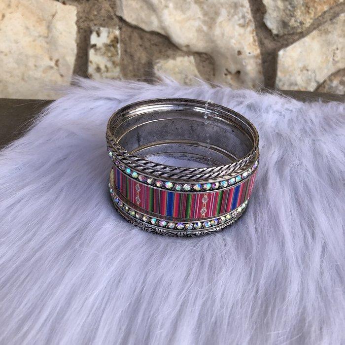Pink Serape AB Crystal Silver Bangle Bracelet Set