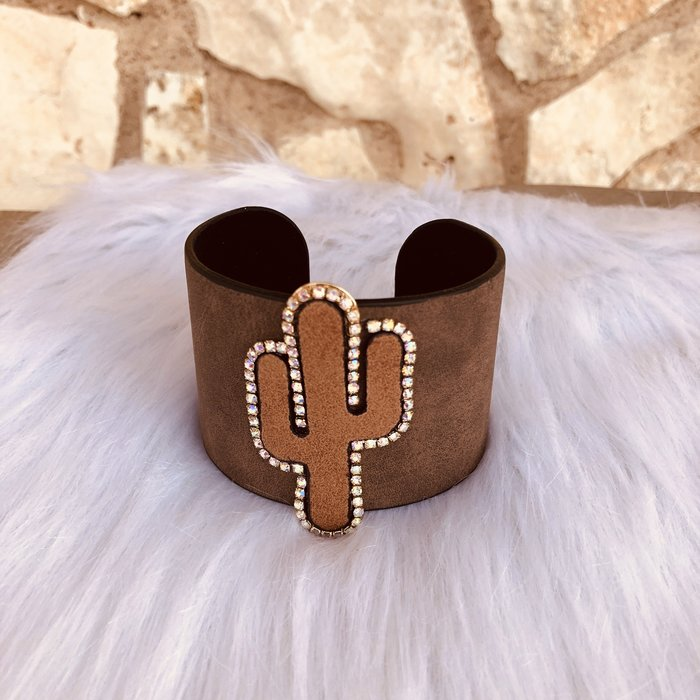 Brown Cactus Rhinestone Leather Cuff